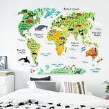 3D интерьерные виниловые наклейки на стены Карта Мира Звери 90-60 см в детскую . Декор, Обои