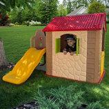 Детский пластиковый домик с горкой M 5399-6-13
