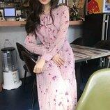 Платье миди в цветочный принт с длинным рукавом в корейском стиле