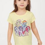 Красивые фирменные футболки с Пони H&M Нм Little Pony. девочке 2-4 года. Новые