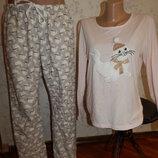 пижама трикотажная кофта с байковыми штанишками р12-14