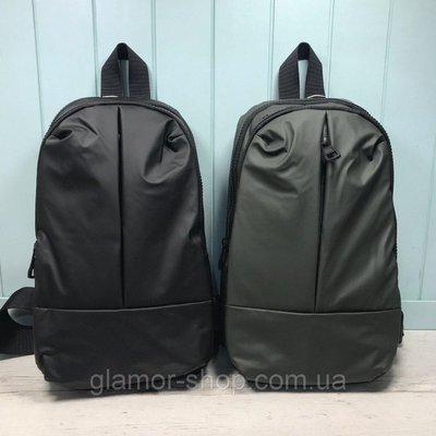 Мужская сумка слинг бананка черная хаки чоловіча сумка слінг чорна хакі из плащевки з плащовки