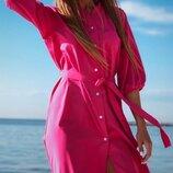 Платье на пуговицах софт лиловый изумрудный бежевый малиновый мята