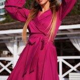 Платье на запах софт фуксия синий красный