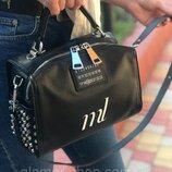 Женская кожаная сумка Polina & Eiterou с шипами черная серебристая бронзовая жіноча шкіряна чорна