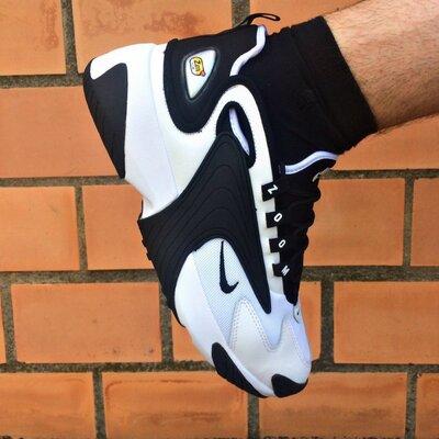 Кроссовки мужские Nike Zoom 2K White/Black черно-белые, кожа