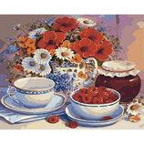 Картина по номерам. Букеты Приглашение на чай 40х50см