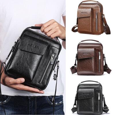 Мужская повседневная сумка барсетка через плечо бренда WEIXIER из PU кожи с ручкой, 3 цвета