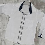 Школьная белая рубашка-трансформер на мальчика хлопок 7,8,9,10 Турция
