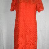 Кружевное коралловое платье Next