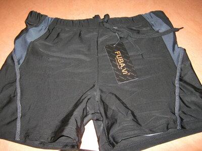 Плавки для купания мужские FUBA.YI черные с серым на шнуровке р.46
