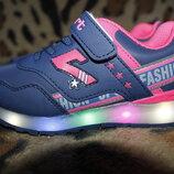 Кроссовки LED со светящейся подошвой мигалками для девочки размеры 26-31