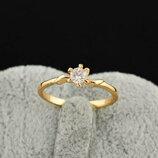 Позолоченное кольцо с фианитом код 309