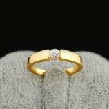 Позолоченное кольцо с фианитом код 308
