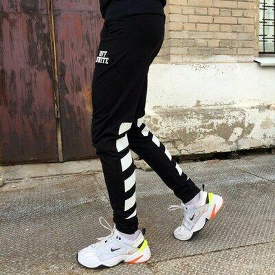 Спортивные штаны в стиле Off White полосы черные унисекс