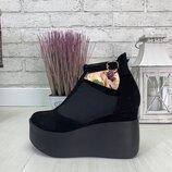 Туфли на платформе, натуральная кожа и замш, 4 цвета