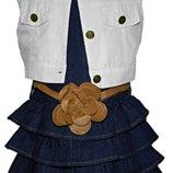 Джинсовое платье для девочки, жилет и пояс в комплекте