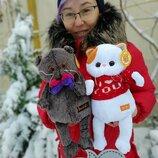 Мягкая игрушка толстый кот Басик Basik и кошечка Лили Lili Украина отличный подарок