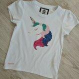 Фирменная футболка с единорогом,футболка с пайетками.