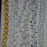 Веточки для волос и серьги из бусин. Свадебный набор.
