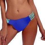 низ от купальника раздельного трусики женские плавки размер 44 / 10 синие с прорезями секси низ на