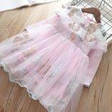 Очень красивое нарядное платье на праздник, шифоновое с вышивкой, цвет светло розовый