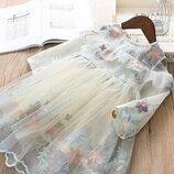 Очень красивое нарядное детское платье на праздник, на день рождения. Шифоновое с вышивкой