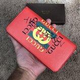Кошелек бумажник Gucci Print leather Future Zip Around Wallet Red