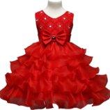 Красное платье для девочки Волны