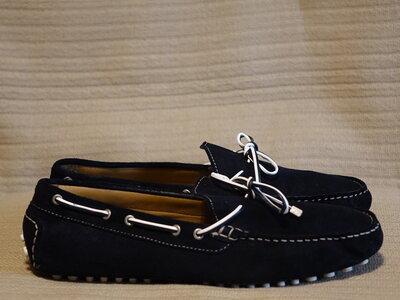 Изящные темно-синие кожаные мокасины драйверы Zara man Испания. 45 р. 29 см.