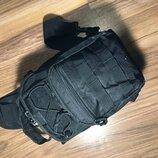 Однолямочная тактическая сумка барсетка чёрная