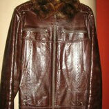 Зимняя кожаная куртка на натуральном меху М