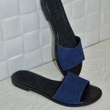 Шлепанцы натур замша,натур кожа синие 36-43р все цвета индивидуальный пошив