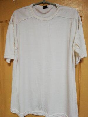 Белая футболка хлопчатка RAKE xxl с молнией на левом плече.