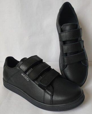 Пракичные и комфортные Мужские туфли ессо с липучками Ботинки кожаные в спорт стиле ecco осень
