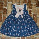 хлопковое платье с мини 18-24 мес одежда 1-16 лет
