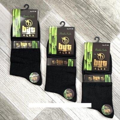 Носки мужские демисезонные 100% бамбук Byt Club, без шва, 41-44 размер, средние, чёрные,12 пар Турци