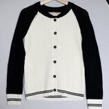 Стильный вязаный черно-белый кардиган кофта Colin's на пуговицах