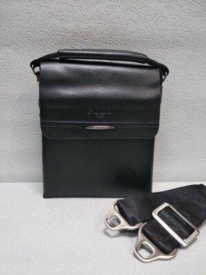 Код М-077 Мужская сумка . Цвет чёрный Материал эко-кожа люкс качества натур. кожа клапан 18х15