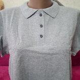 Мужская футболка Polo лакоста 100% хлопок Узбекистан серый меланж р.54