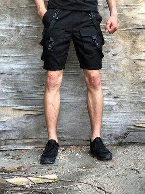 Шорты мужские Пушка Огонь Scarstrope черные с карабинами и карманами