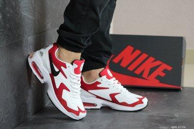 Nike Air Max 2 кроссовки кожаные мужские демисезонные белые с красным 8156