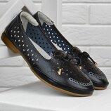 Туфли кожаные Comfort Турция женские на маленьком каблуке черные