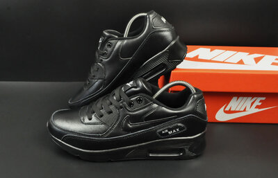 Мужские кроссовки Nike Air Max 90 черные,глянц 41-45р