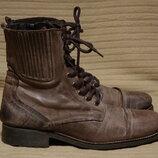 Брутальные высокие темно-коричневые кожаные ботинки в стиле Used Look - Next Англия 44 р.