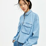 джинсовая рубашка в стиле оверсайз PULL&BEAR оригинал