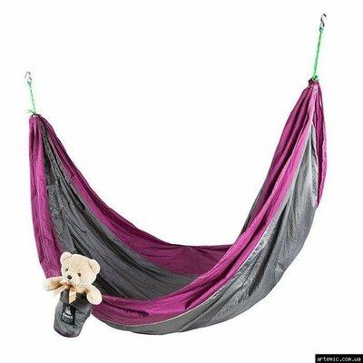 Гамак GreenCamp VOYAGE , 300 200см, парашутний шовк, сірий / вишневий
