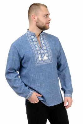 Мужская рубашка-вышиванка в модном джинсовом цвете Орнамент gsr-020028 сорочка