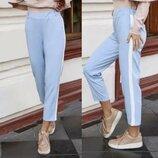 Укороченые брюки Лампасы Голубого цвета