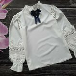 Шикарная блуза с кружевом и бусинками